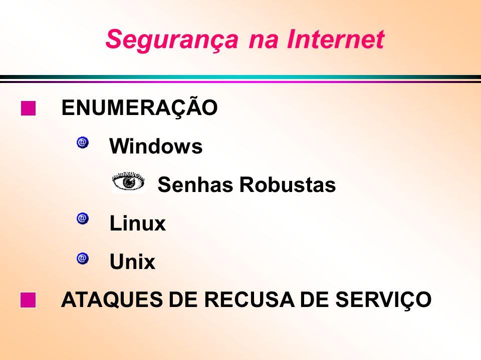 Segurança na Internet ENUMERAÇÃO Windows Senhas Robustas Linux Unix ATAQUES DE RECUSA DE SERVIÇO