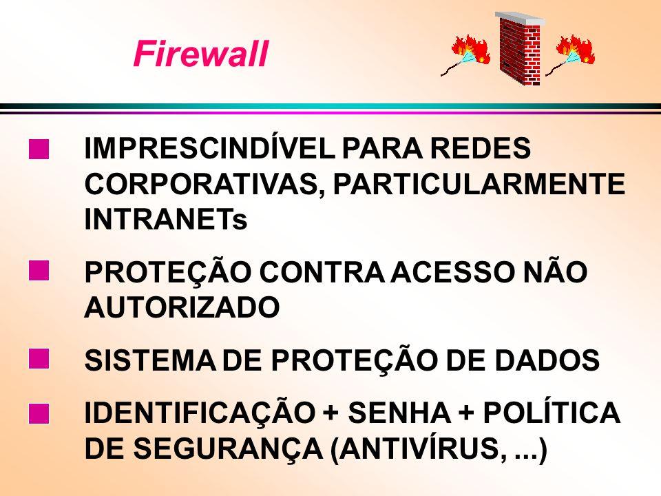 Firewall IMPRESCINDÍVEL PARA REDES CORPORATIVAS, PARTICULARMENTE INTRANETs PROTEÇÃO CONTRA ACESSO NÃO AUTORIZADO SISTEMA DE PROTEÇÃO DE DADOS IDENTIFICAÇÃO + SENHA + POLÍTICA DE SEGURANÇA (ANTIVÍRUS,...)