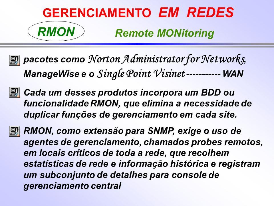 GERENCIAMENTO EM REDES RMON Remote MONitoring pacotes como Norton Administrator for Networks, ManageWise e o Single Point Visinet ----------- WAN Cada um desses produtos incorpora um BDD ou funcionalidade RMON, que elimina a necessidade de duplicar funções de gerenciamento em cada site.