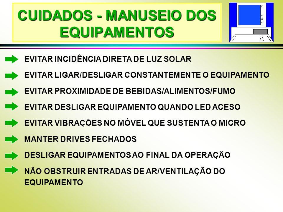 CUIDADOS - MANUSEIO DOS EQUIPAMENTOS EVITAR INCIDÊNCIA DIRETA DE LUZ SOLAR EVITAR LIGAR/DESLIGAR CONSTANTEMENTE O EQUIPAMENTO EVITAR PROXIMIDADE DE BE