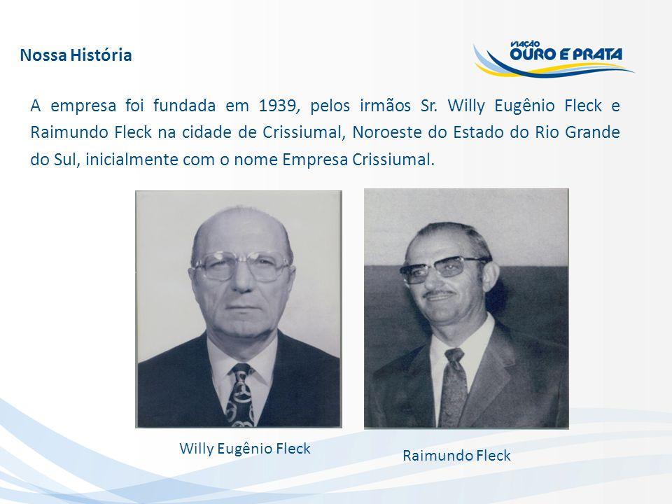 Nossa História A empresa foi fundada em 1939, pelos irmãos Sr. Willy Eugênio Fleck e Raimundo Fleck na cidade de Crissiumal, Noroeste do Estado do Rio