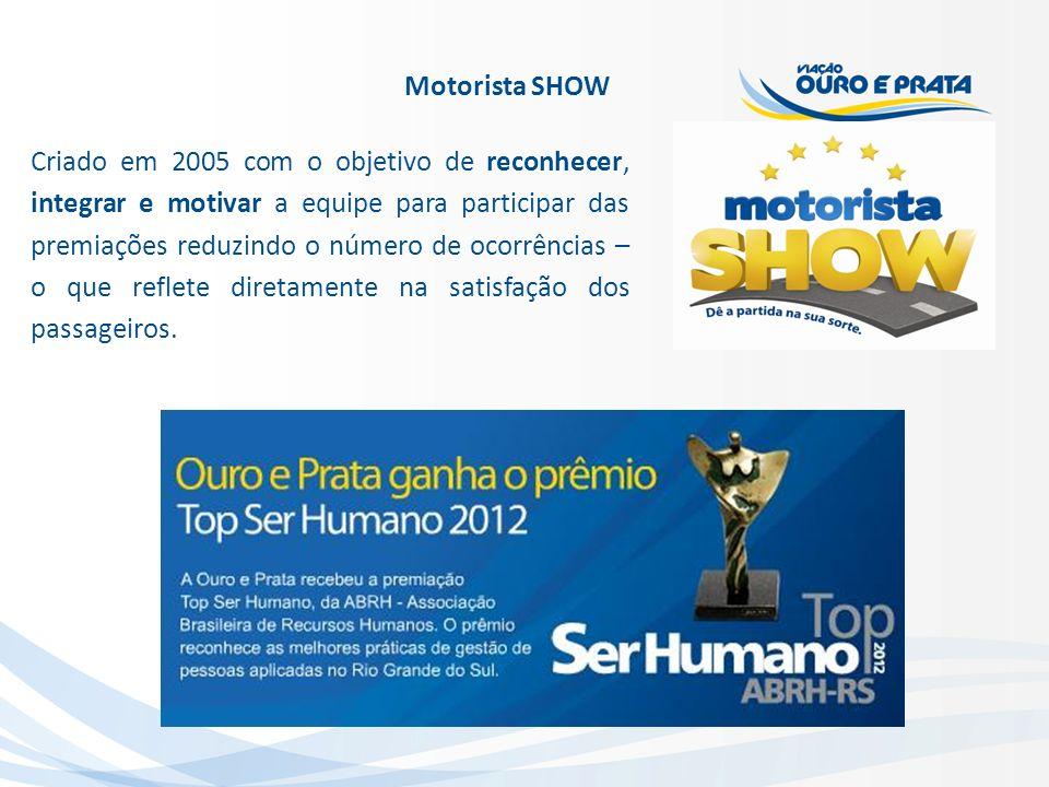 Motorista SHOW Criado em 2005 com o objetivo de reconhecer, integrar e motivar a equipe para participar das premiações reduzindo o número de ocorrênci