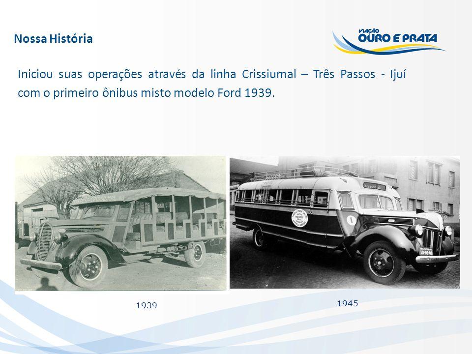Nossa História Iniciou suas operações através da linha Crissiumal – Três Passos - Ijuí com o primeiro ônibus misto modelo Ford 1939. 1939 1945