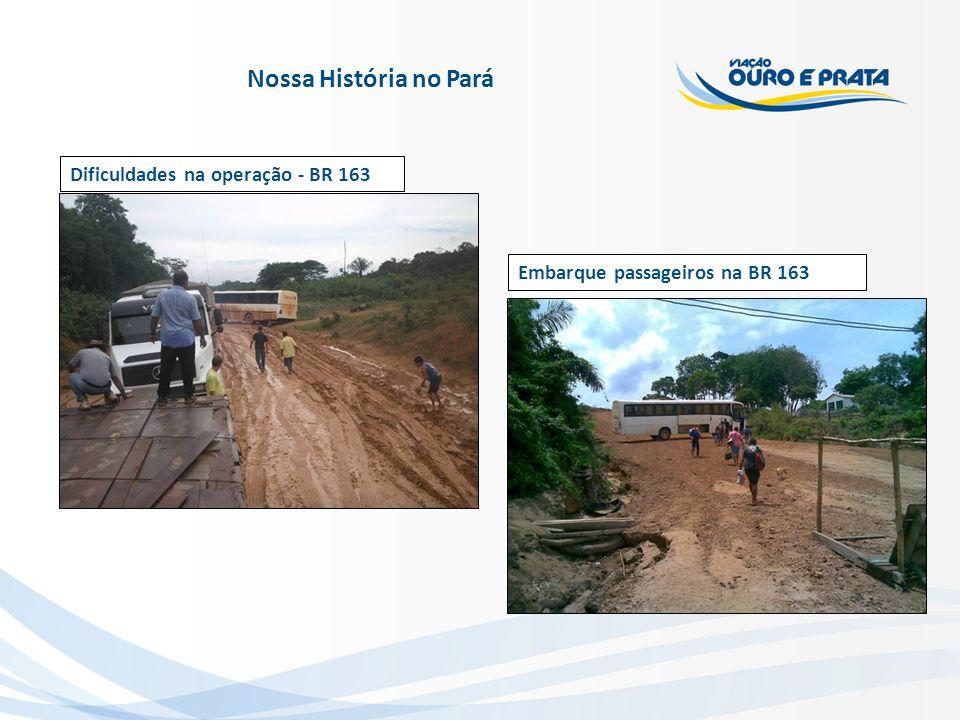 Dificuldades na operação - BR 163 Embarque passageiros na BR 163 Nossa História no Pará