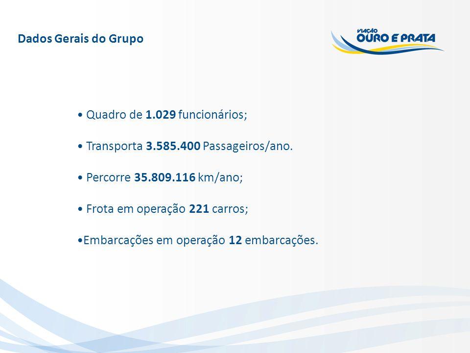 Dados Gerais do Grupo Quadro de 1.029 funcionários; Transporta 3.585.400 Passageiros/ano. Percorre 35.809.116 km/ano; Frota em operação 221 carros; Em