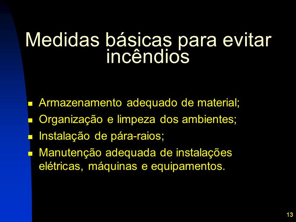13 Medidas básicas para evitar incêndios Armazenamento adequado de material; Organização e limpeza dos ambientes; Instalação de pára-raios; Manutenção