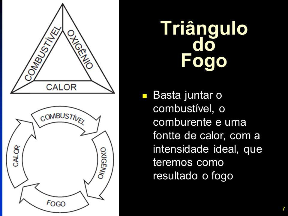 7 Triângulo do Fogo Basta juntar o combustível, o comburente e uma fontte de calor, com a intensidade ideal, que teremos como resultado o fogo