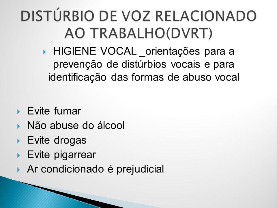 HIGIENE VOCAL _orientações para a prevenção de distúrbios vocais e para identificação das formas de abuso vocal Evite fumar Não abuse do álcool Evite drogas Evite pigarrear Ar condicionado é prejudicial