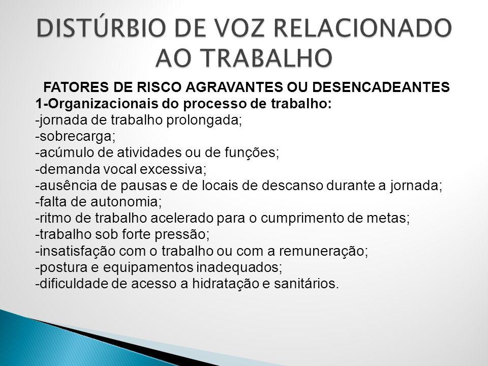 FATORES DE RISCO AGRAVANTES OU DESENCADEANTES 1-Organizacionais do processo de trabalho: -jornada de trabalho prolongada; -sobrecarga; -acúmulo de ati