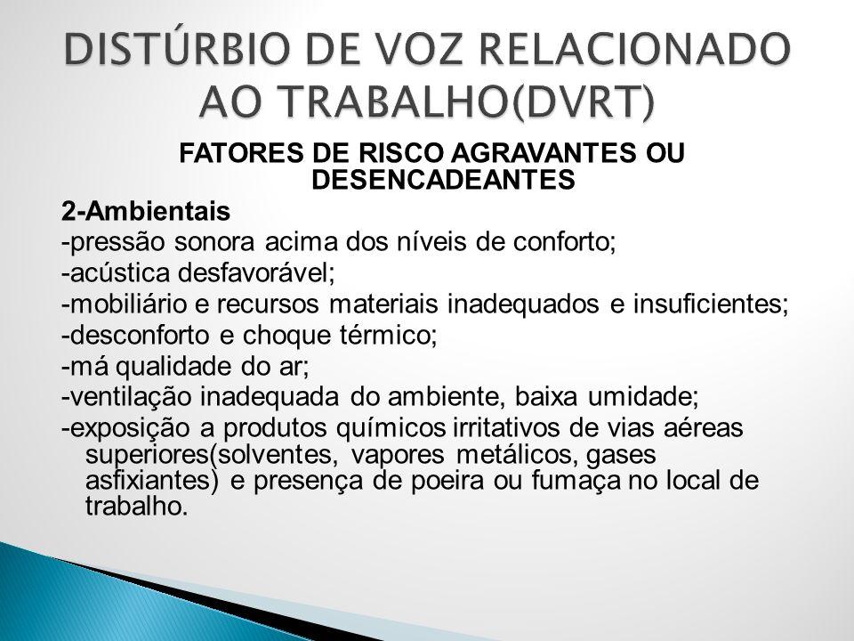 FATORES DE RISCO AGRAVANTES OU DESENCADEANTES 2-Ambientais -pressão sonora acima dos níveis de conforto; -acústica desfavorável; -mobiliário e recurso