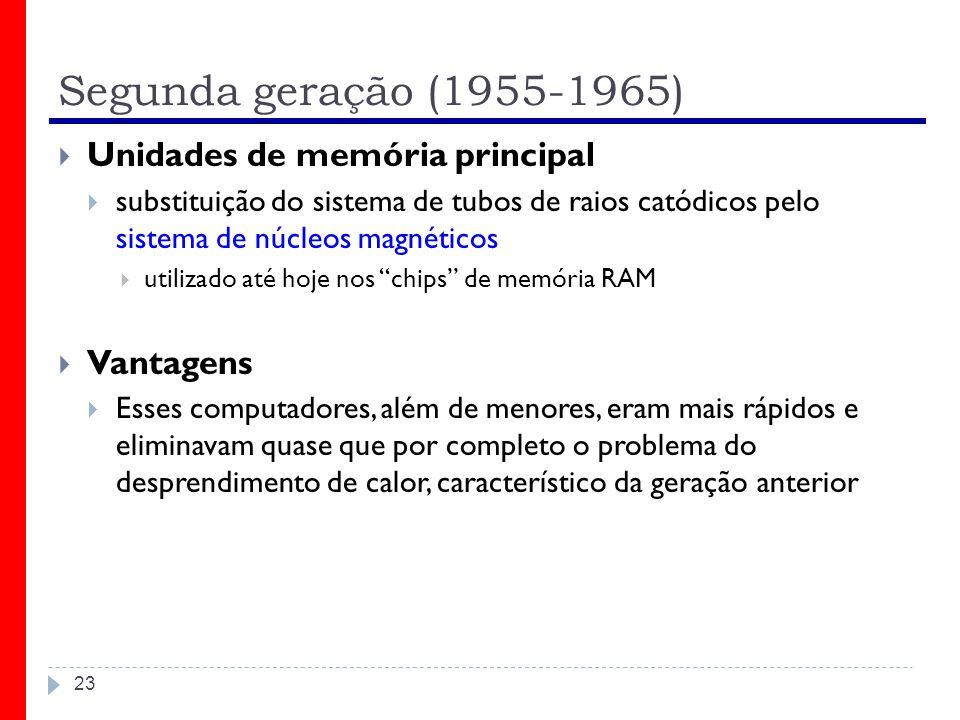 Segunda geração (1955-1965) 23 Unidades de memória principal substituição do sistema de tubos de raios catódicos pelo sistema de núcleos magnéticos ut