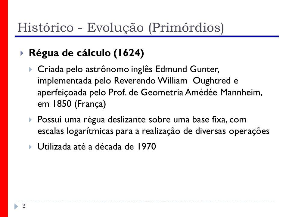 Histórico - Evolução (Primórdios) 3 Régua de cálculo (1624) Criada pelo astrônomo inglês Edmund Gunter, implementada pelo Reverendo William Oughtred e