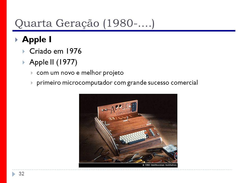 Quarta Geração (1980-....) 32 Apple I Criado em 1976 Apple II (1977) com um novo e melhor projeto primeiro microcomputador com grande sucesso comercia