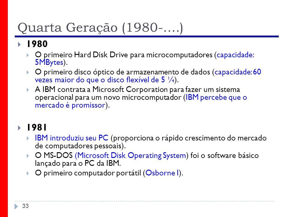 Quarta Geração (1980-....) 33 1980 O primeiro Hard Disk Drive para microcomputadores (capacidade: 5MBytes). O primeiro disco óptico de armazenamento d