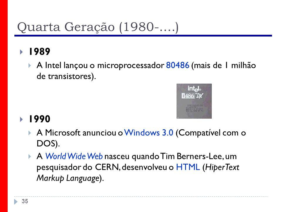 Quarta Geração (1980-....) 35 1989 A Intel lançou o microprocessador 80486 (mais de 1 milhão de transistores). 1990 A Microsoft anunciou o Windows 3.0