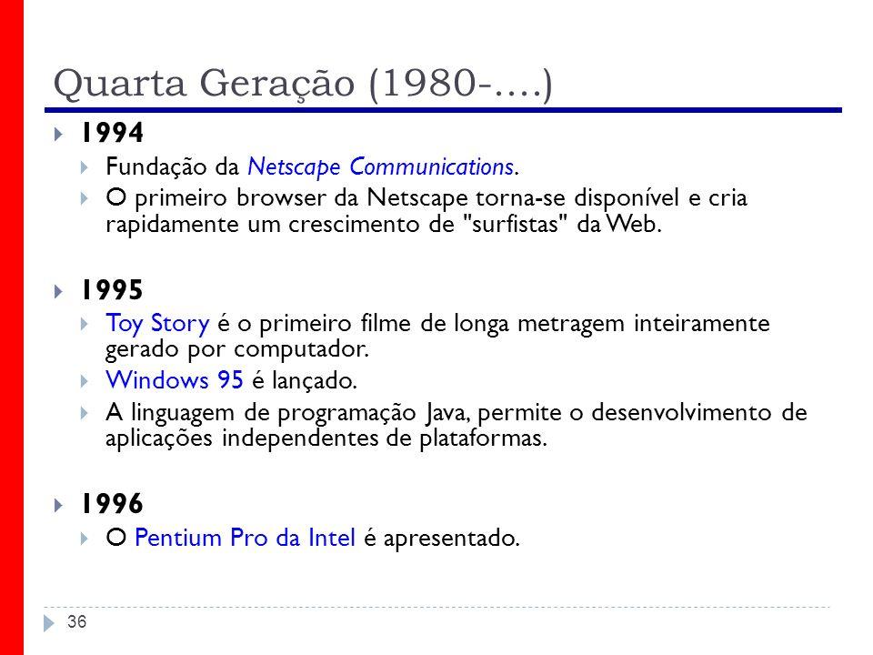 Quarta Geração (1980-....) 36 1994 Fundação da Netscape Communications. O primeiro browser da Netscape torna-se disponível e cria rapidamente um cresc