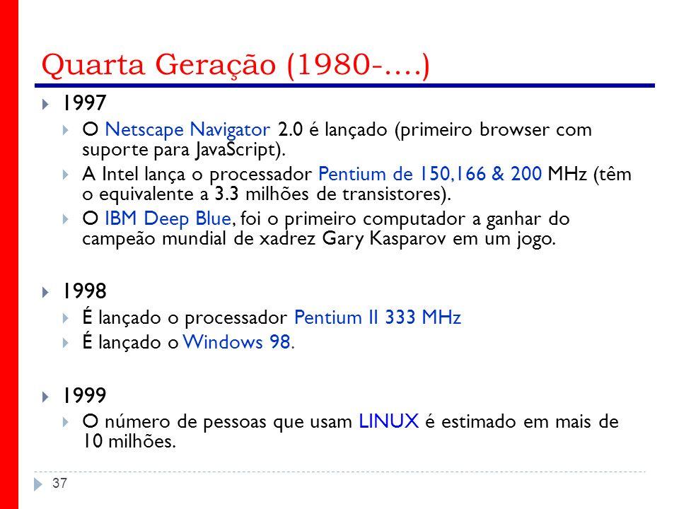 Quarta Geração (1980-....) 37 1997 O Netscape Navigator 2.0 é lançado (primeiro browser com suporte para JavaScript). A Intel lança o processador Pent