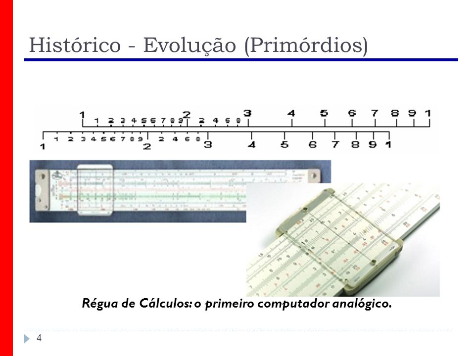 Histórico - Evolução (Primórdios) 4 Régua de Cálculos: o primeiro computador analógico.
