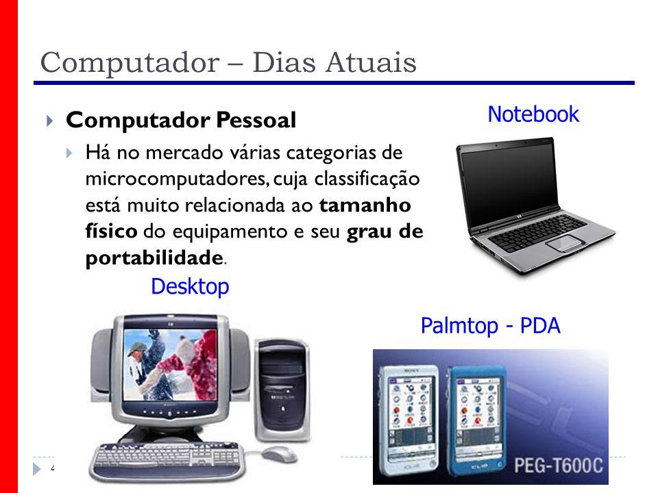 Computador – Dias Atuais 40 Computador Pessoal Há no mercado várias categorias de microcomputadores, cuja classificação está muito relacionada ao tama