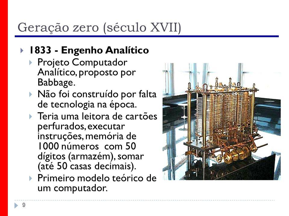 Primeira geração (1930-1958) 20 ENIAC (Electronic Numeric Integrator and Calculator) Criado entre 1943 e 1946 Foi considerado o primeiro grande computador digital Programas eram introduzidos por meio de cabos Fazia sua preparação para cálculos demorar semanas Ocupava 170 m², pesava 30 toneladas, funcionava com 18 mil válvulas e 10 mil capacitores, além de milhares de resistores a relé, consumindo uma potência de 150 Kwatts Como tinha vários componentes discretos, não funcionava por muitos minutos seguidos sem que um deles quebrasse