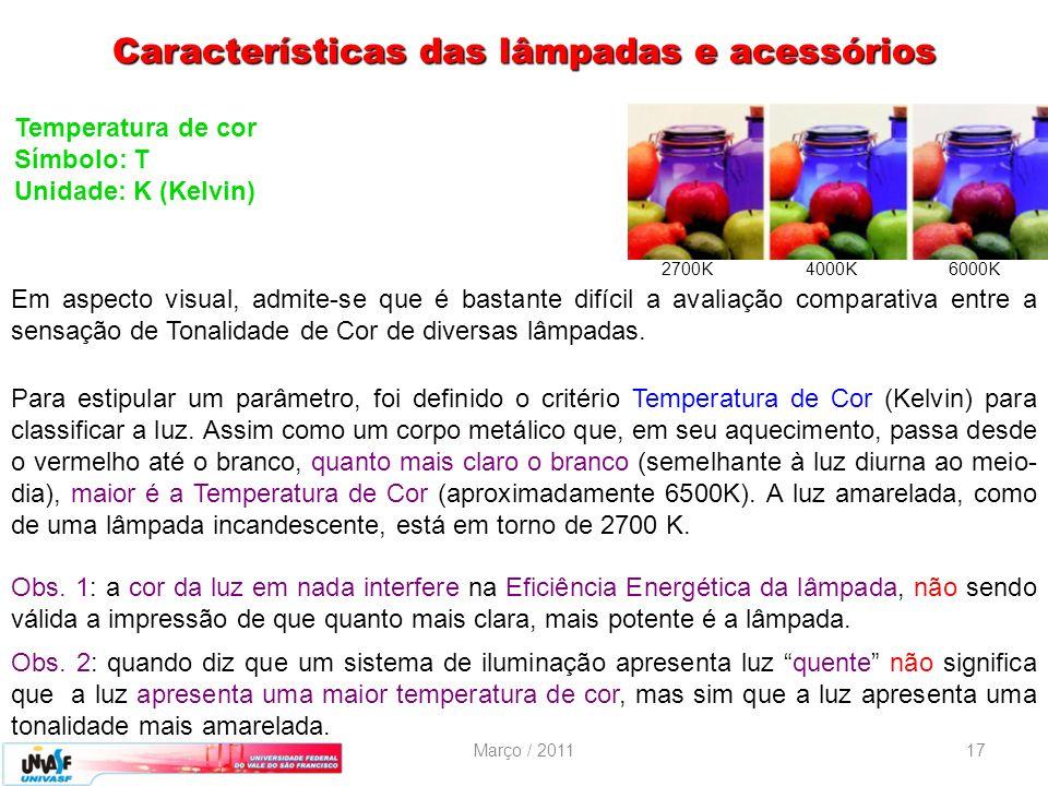 Março / 201117 Temperatura de cor Símbolo: T Unidade: K (Kelvin) 2700K 4000K 6000K Em aspecto visual, admite-se que é bastante difícil a avaliação com