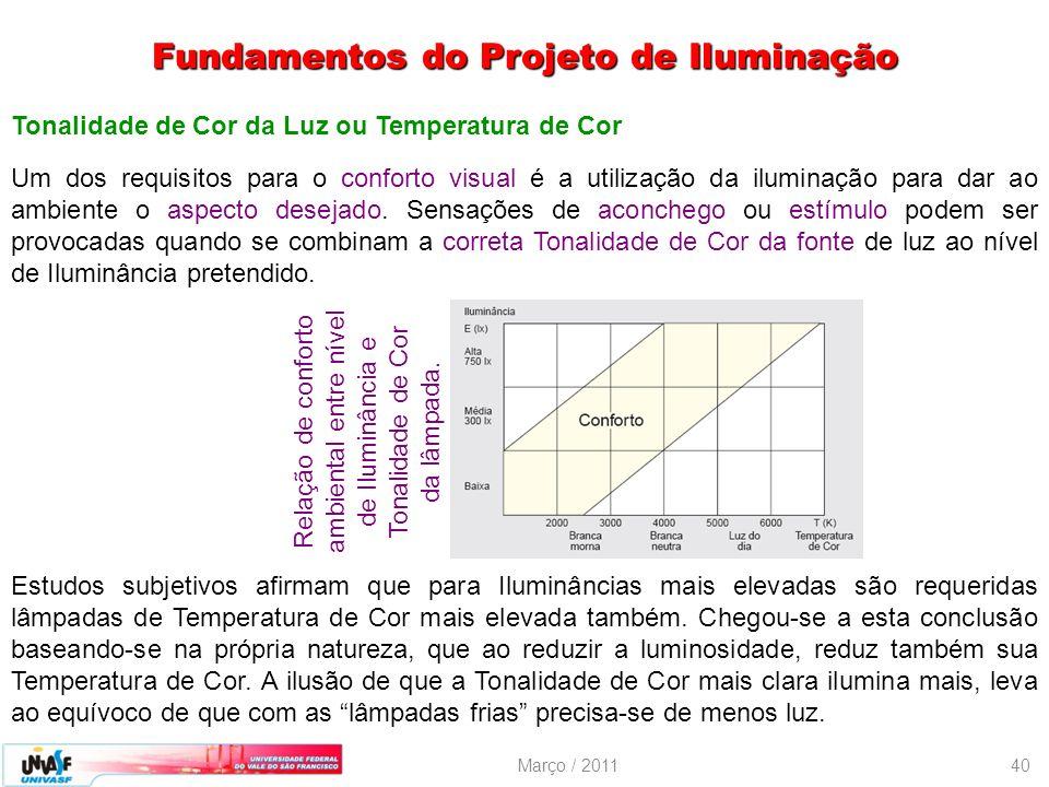 Março / 201140 Tonalidade de Cor da Luz ou Temperatura de Cor Um dos requisitos para o conforto visual é a utilização da iluminação para dar ao ambien