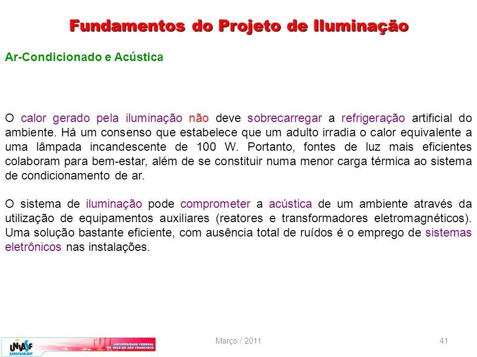 Março / 201141 Ar-Condicionado e Acústica O calor gerado pela iluminação não deve sobrecarregar a refrigeração artificial do ambiente. Há um consenso