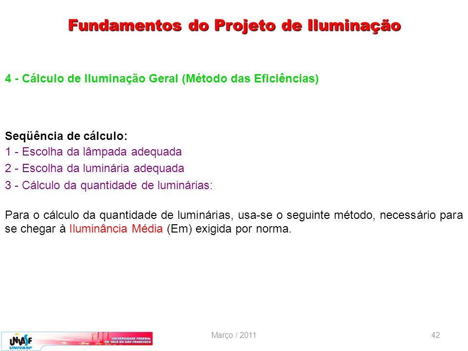 Março / 201142 4 - Cálculo de Iluminação Geral (Método das Eficiências) Seqüência de cálculo: 1 - Escolha da lâmpada adequada 2 - Escolha da luminária