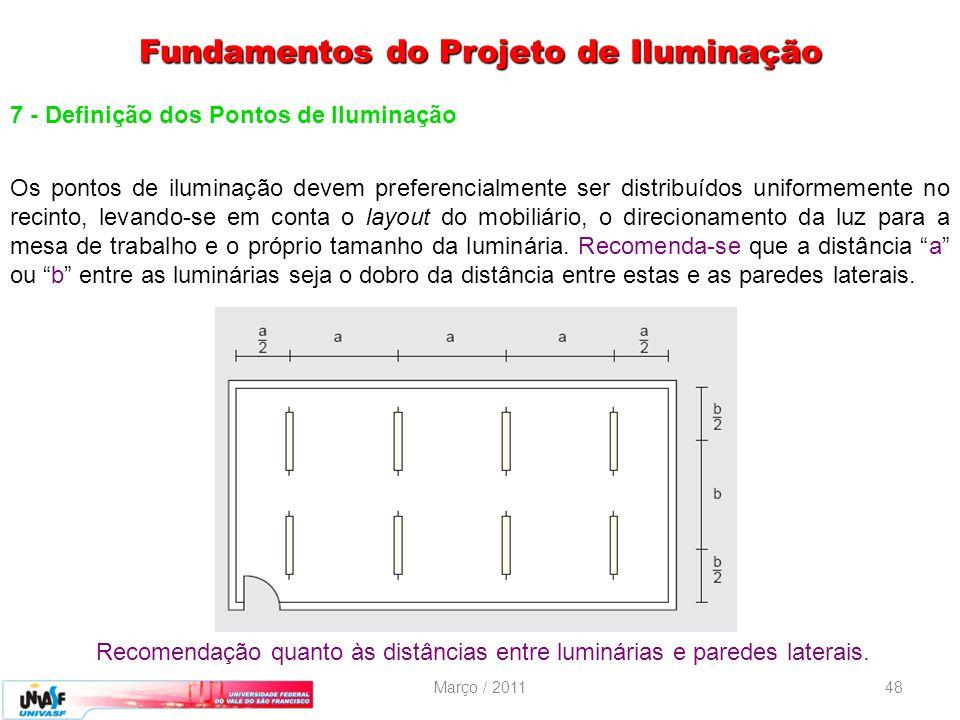 Março / 201148 7 - Definição dos Pontos de Iluminação Os pontos de iluminação devem preferencialmente ser distribuídos uniformemente no recinto, levan