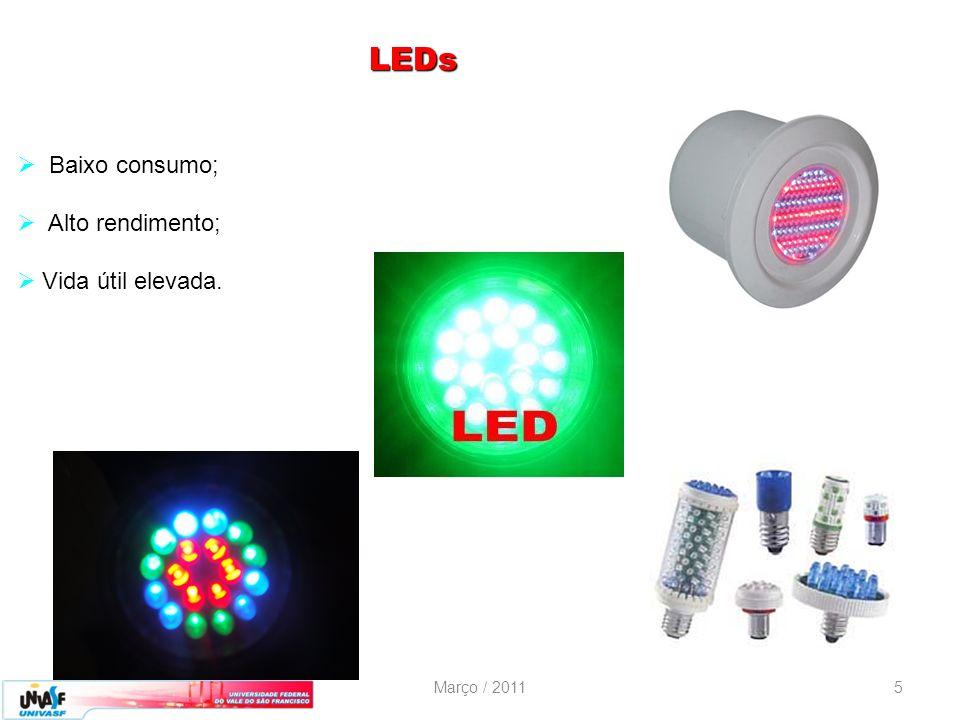 Março / 20115 LEDs Baixo consumo; Alto rendimento; Vida útil elevada.