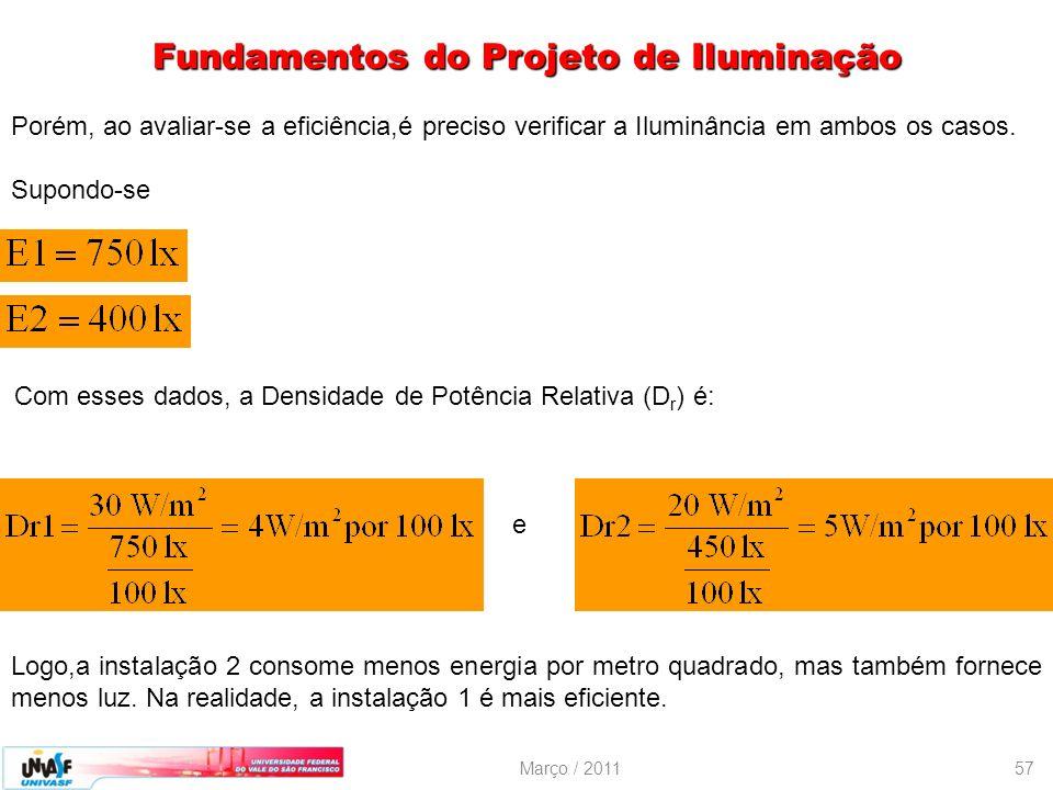 Março / 201157 Porém, ao avaliar-se a eficiência,é preciso verificar a Iluminância em ambos os casos. Supondo-se Com esses dados, a Densidade de Potên