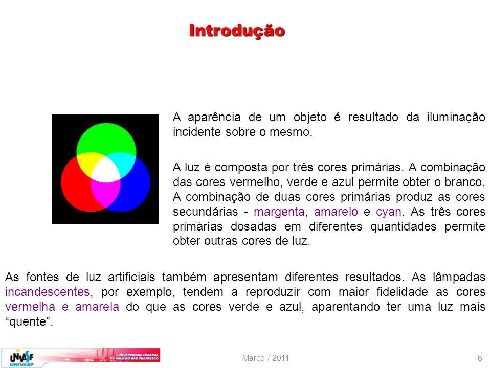 Março / 20118 A aparência de um objeto é resultado da iluminação incidente sobre o mesmo. A luz é composta por três cores primárias. A combinação das
