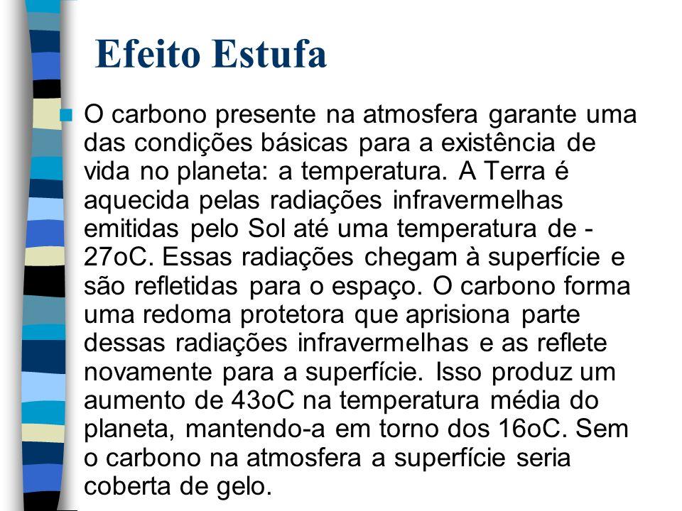 Efeito Estufa O carbono presente na atmosfera garante uma das condições básicas para a existência de vida no planeta: a temperatura. A Terra é aquecid