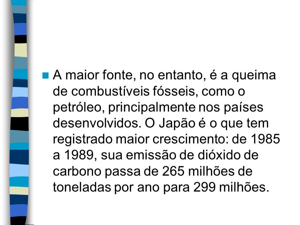 A maior fonte, no entanto, é a queima de combustíveis fósseis, como o petróleo, principalmente nos países desenvolvidos. O Japão é o que tem registrad