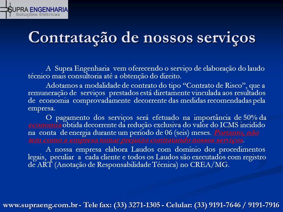 Contratação de nossos serviços A Supra Engenharia vem oferecendo o serviço de elaboração do laudo técnico mais consultoria até a obtenção do direito.