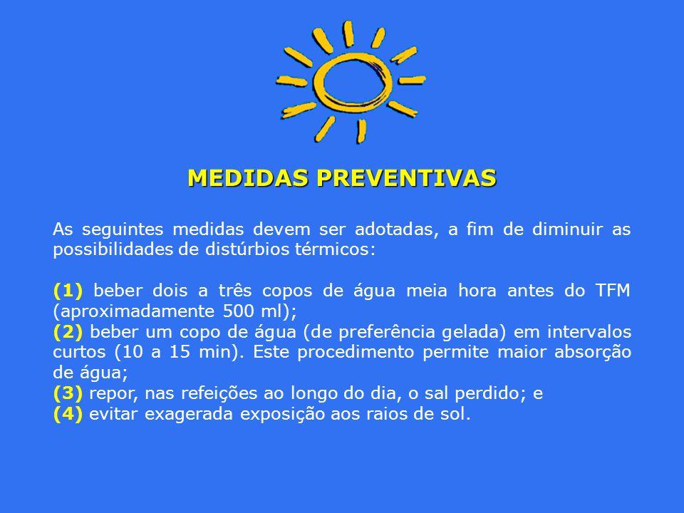 MEDIDAS PREVENTIVAS As seguintes medidas devem ser adotadas, a fim de diminuir as possibilidades de distúrbios térmicos: (1) beber dois a três copos d