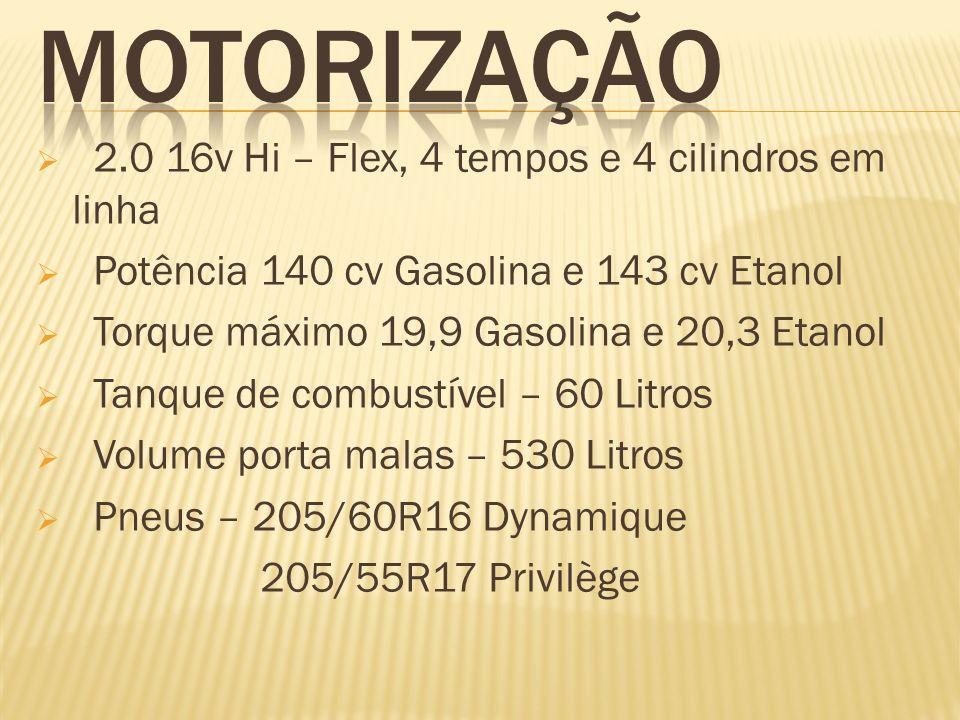 2.0 16v Hi – Flex, 4 tempos e 4 cilindros em linha Potência 140 cv Gasolina e 143 cv Etanol Torque máximo 19,9 Gasolina e 20,3 Etanol Tanque de combus