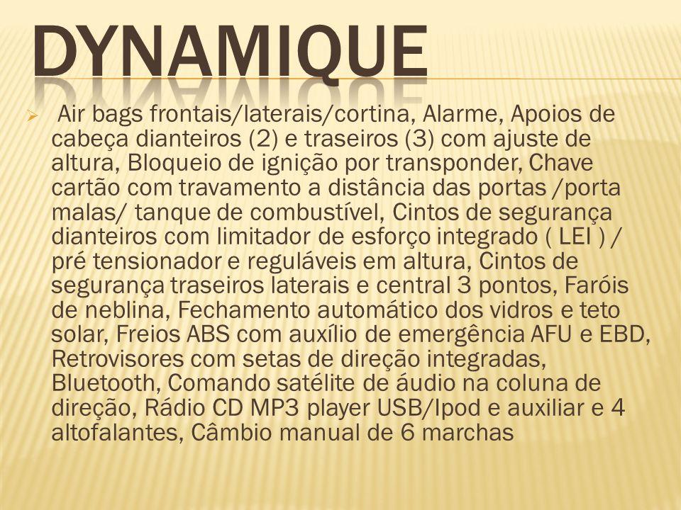 Air bags frontais/laterais/cortina, Alarme, Apoios de cabeça dianteiros (2) e traseiros (3) com ajuste de altura, Bloqueio de ignição por transponder,