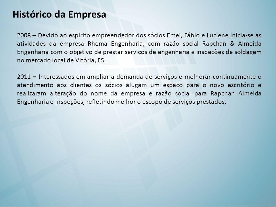 Histórico da Empresa 2008 – Devido ao espirito empreendedor dos sócios Emel, Fábio e Luciene inicia-se as atividades da empresa Rhema Engenharia, com
