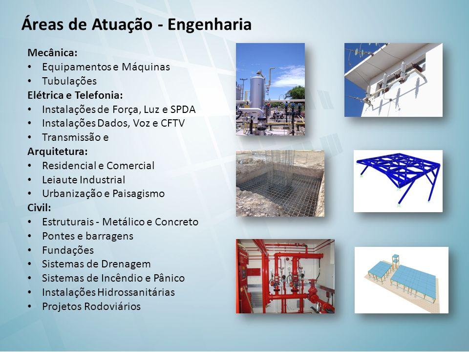 Áreas de Atuação - Engenharia Mecânica: Equipamentos e Máquinas Tubulações Elétrica e Telefonia: Instalações de Força, Luz e SPDA Instalações Dados, V