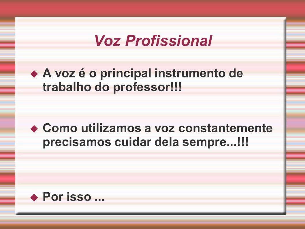 A voz é o principal instrumento de trabalho do professor!!! Como utilizamos a voz constantemente precisamos cuidar dela sempre...!!! Por isso... Voz P