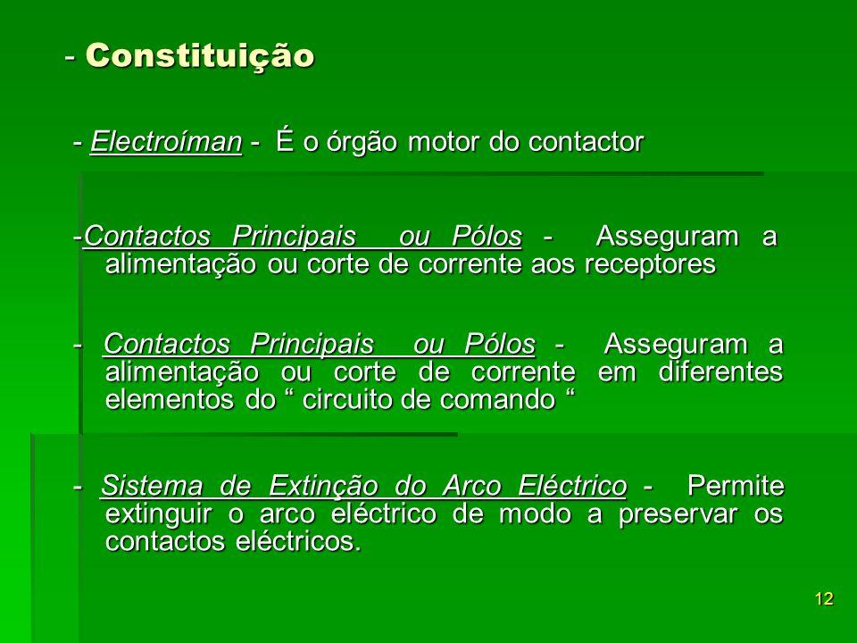 - Constituição - Electroíman - É o órgão motor do contactor 12 -Contactos Principais ou Pólos - Asseguram a alimentação ou corte de corrente aos recep