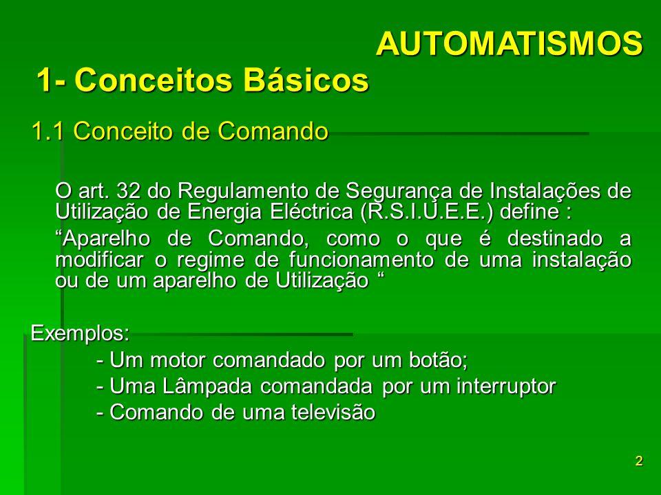 1.1 Conceito de Comando O art. 32 do Regulamento de Segurança de Instalações de Utilização de Energia Eléctrica (R.S.I.U.E.E.) define : Aparelho de Co