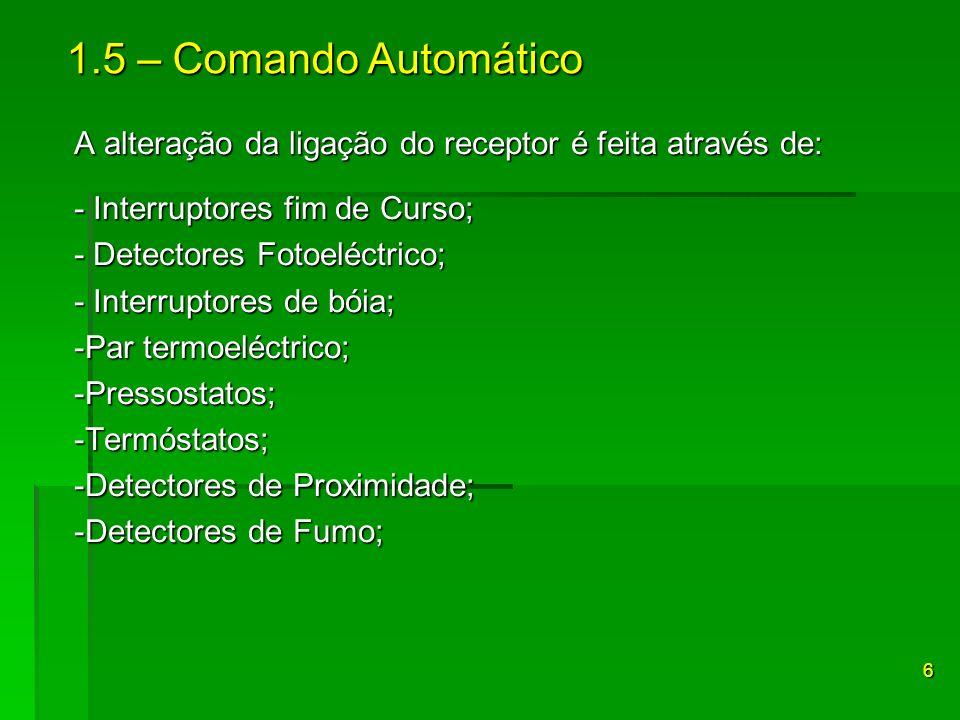 A alteração da ligação do receptor é feita através de: - Interruptores fim de Curso; - Detectores Fotoeléctrico; - Interruptores de bóia; -Par termoel