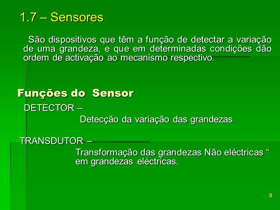 São dispositivos que têm a função de detectar a variação de uma grandeza, e que em determinadas condições dão ordem de activação ao mecanismo respecti