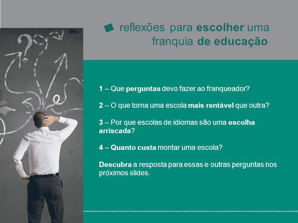 Os principais custos de uma escola são o aluguel do imóvel e o salário de funcionários e instrutores Esses custos são parecidos para todas as escolas.