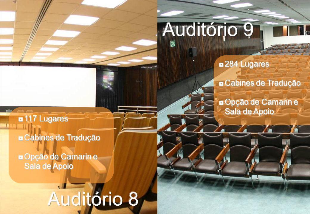 284 Lugares284 Lugares Cabines de TraduçãoCabines de Tradução Opção de Camarin e Sala de ApoioOpção de Camarin e Sala de Apoio 117 Lugares117 Lugares