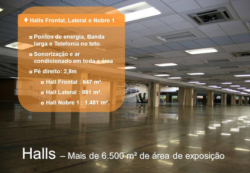 Pontos de energia, Banda larga e Telefonia no teto. Sonorização e ar condicionado em toda a área Pé direito: 2,8m Hall Frontal : 647 m². Hall Lateral