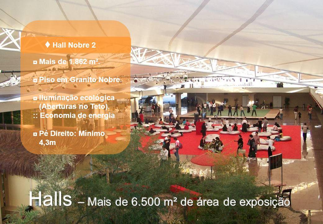 Hall Nobre 2 Mais de 1.862 m². Piso em Granito Nobre. Iluminação ecológica (Aberturas no Teto). :: Economia de energia Pé Direito: Mínimo 4,3m