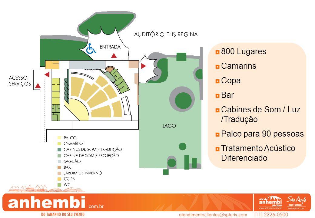 800 Lugares Camarins Copa Bar Cabines de Som / Luz /Tradução Palco para 90 pessoas Tratamento Acústico Diferenciado
